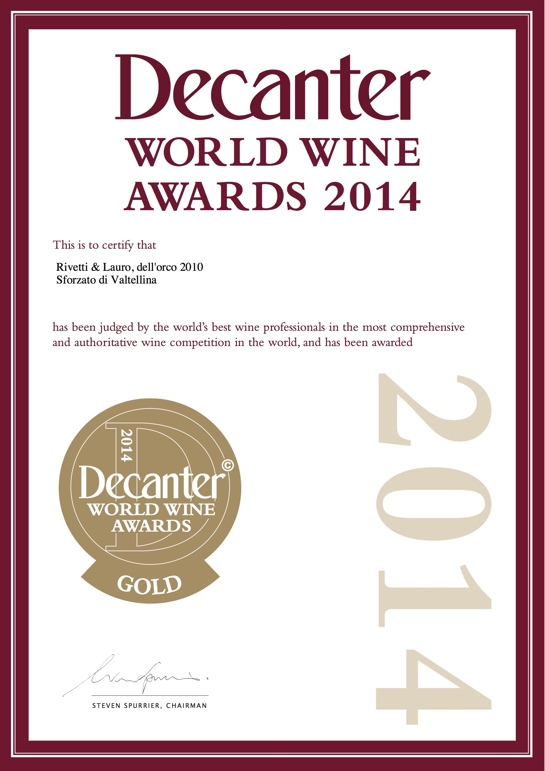 Decanter World Wine Awards 2014